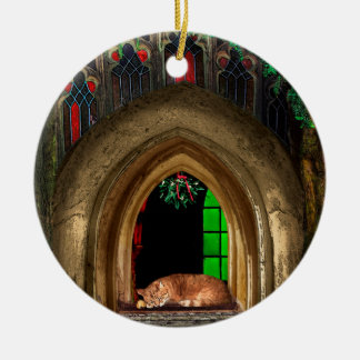 Mistletoe Church Cat Ceramic Ornament