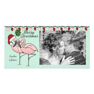 Mistletoe Flamingoes Card