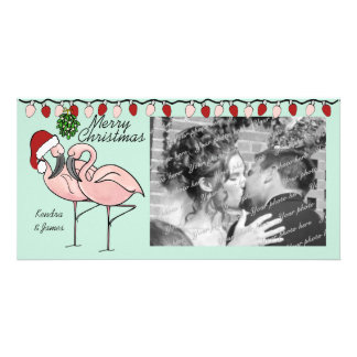 Mistletoe Flamingoes Photo Greeting Card