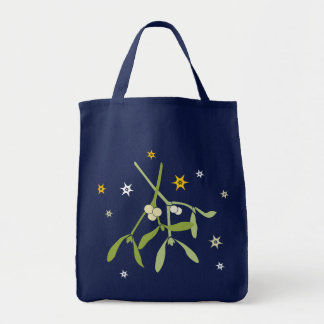 Mistletoe green Christmas grocery bag