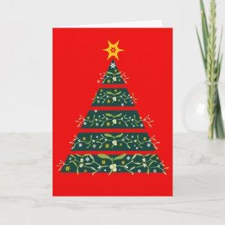 Mistletoe green christmas tree seasonal card red card
