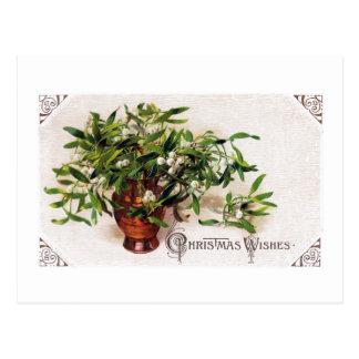 Mistletoe in Brass Jug Vintage Christmas Postcard