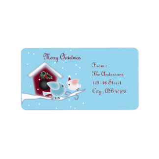 mistletoe Kiss Love Birds Our First Christmas Address Label