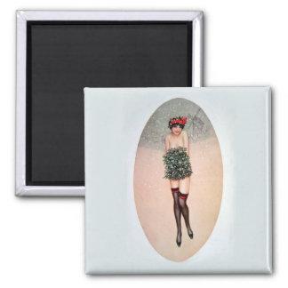 Mistletoe Miss Square Magnet