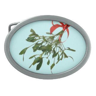 Mistletoe Oval Belt Buckle