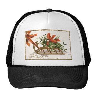 Mistletoe Sleigh Sled Red Bow Hat
