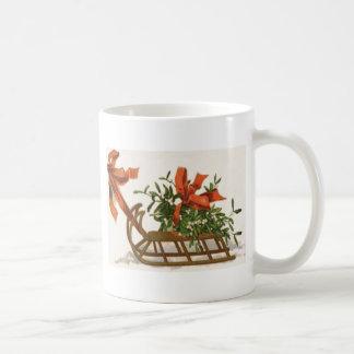 Mistletoe Sleigh Sled Red Bow Mug