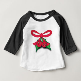 Mistletoe with Kissing Cartoon Berries Baby T-Shirt