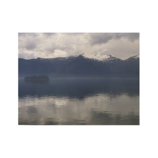 Misty Alaskan Sea in Beautiful Shades of Blue Wood Poster