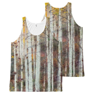 Misty Birch Forest All-Over Print Singlet