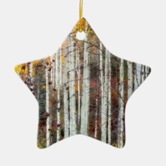 Misty Birch Forest Ceramic Ornament
