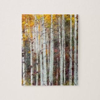 Misty Birch Forest Jigsaw Puzzle