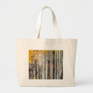 Misty Birch Forest Large Tote Bag