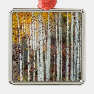 Misty Birch Forest Metal Ornament