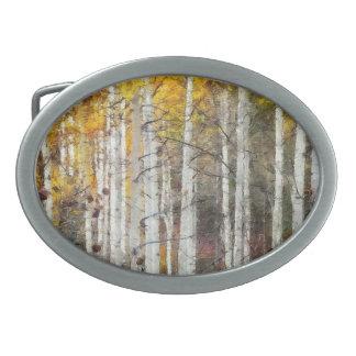 Misty Birch Forest Oval Belt Buckle