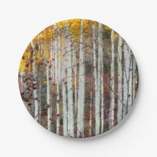 Misty Birch Forest Paper Plate