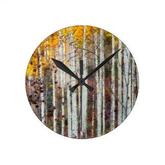 Misty Birch Forest Round Clock