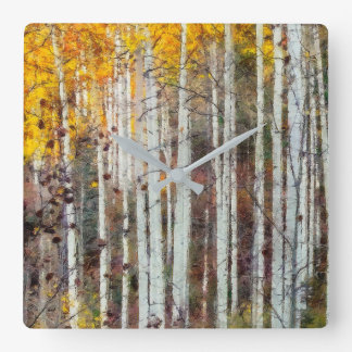 Misty Birch Forest Square Wall Clock
