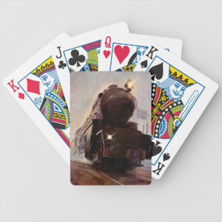 Misty Evening Train Station Engine Playing Cards