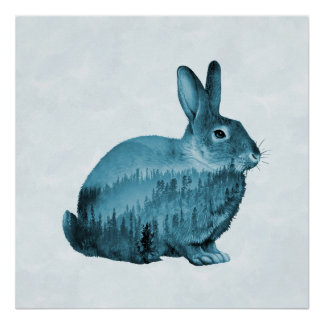 Misty Forest Bunny - Blue Poster