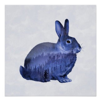 Misty Forest Bunny - Deep Purple Poster