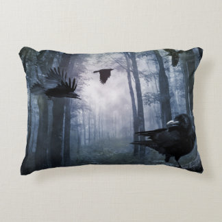 Misty Forest Crows Accent Pillow