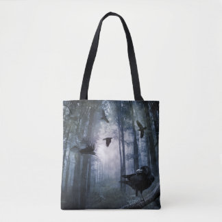 Misty Forest Crows All-Over-Print Tote Bag