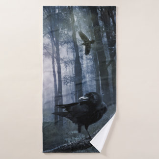 Misty Forest Crows Bath Towel