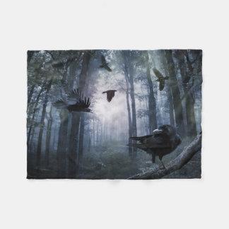 Misty Forest Crows Small Fleece Blanket