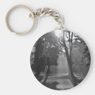 Misty Forest in Monochrome Button Key Chain