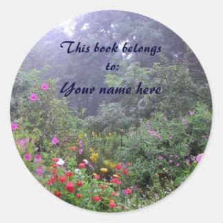 Misty Garden Bookplate Round Sticker