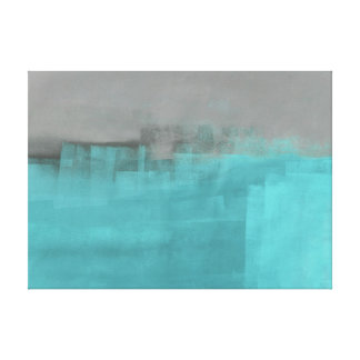 'Misty' Grey and Turquoise Abstract Art Print