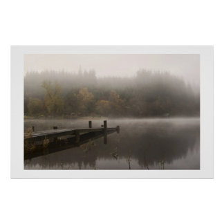 Misty Jetty - Loch Ard, Scotland Poster