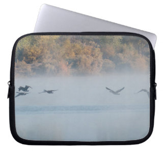 Misty Lake with Geese Laptop Sleeve