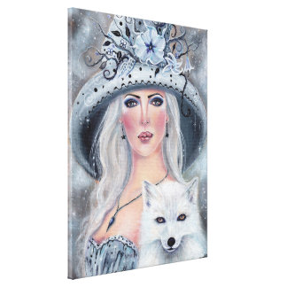 Misty moonflower witch and fox canvas print Renee