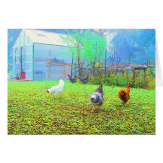 Misty Morning Chickens Art Note Card