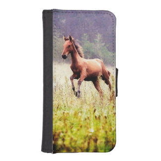 Misty Morning Frolick Horse Photography iPhone SE/5/5s Wallet Case
