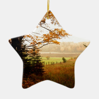 Misty Morning in the Country Ceramic Ornament
