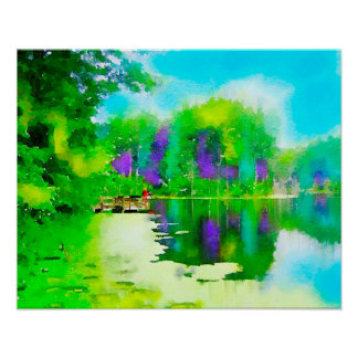Misty Morning Lake Poster
