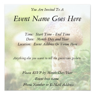 Misty Morning Mushrooms Personalized Invitations