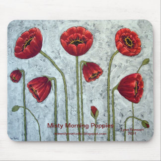 Misty Morning Poppies Mouse Pad