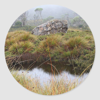 Misty morning reflections, Tasmania, Australia Classic Round Sticker