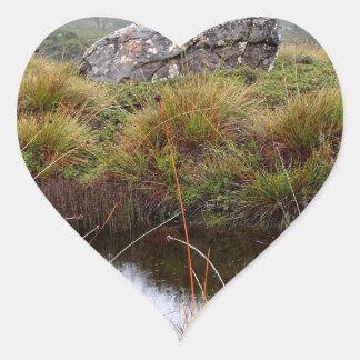 Misty morning reflections, Tasmania, Australia Heart Sticker