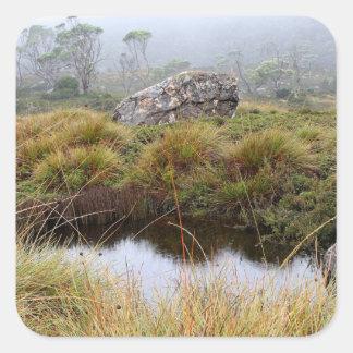 Misty morning reflections, Tasmania, Australia Square Sticker