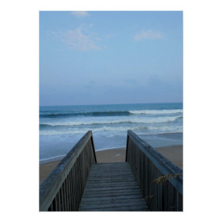Misty Morning Seashore Pier Beach Sand Waves Photo Poster