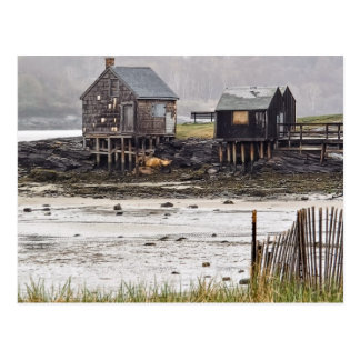 Misty Morning Shacks Postcard