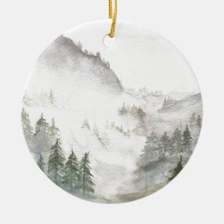 Misty Mountains Ceramic Ornament