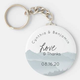 Misty Mountains Key Ring Wedding Favour Love Basic Round Button Key Ring
