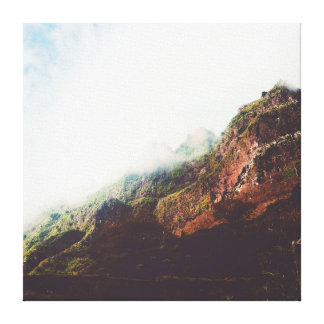 Misty Mountains, Relaxing Nature Landscape Scene Canvas Print