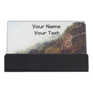 Misty Mountains, Relaxing Nature Landscape Scene Desk Business Card Holder
